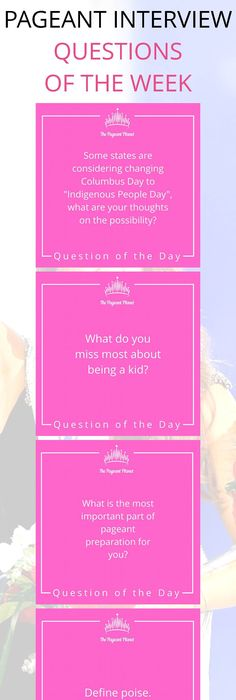 Weve rounded up the top questions of the week for you to practice are you looking for interview questions to help you prepare for your next pageant click this image and look through of daily questions all centered to help stopboris Gallery