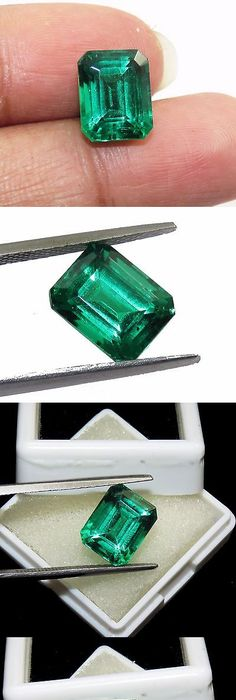 lab quartz made octagon emeralds doublets man created cts stone emerald pin