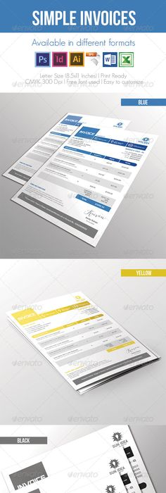 Invoices Bundle 5 in 1 Template, Proposal templates and Business