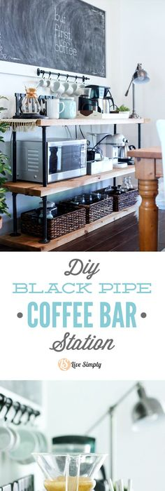 pleasing coffee bar for office. Build your own coffee bar  This project is made with industrial style black pipes Bar layered shelves put mirror behind above buffet