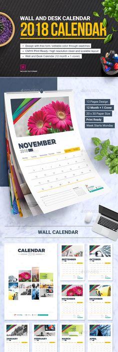 2018 Colorful Wall Calendar Calendar Design Font Logo And Website