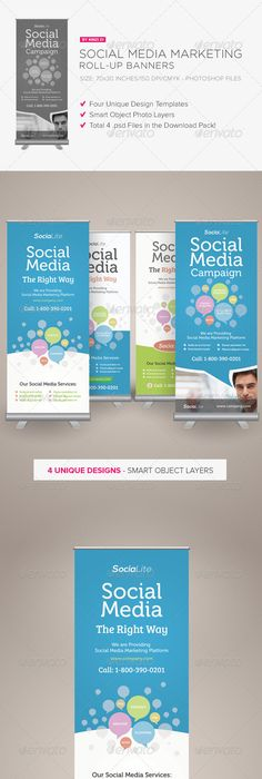 Social Media Marketing RollUp Banners By Kinzi Wijaya Via
