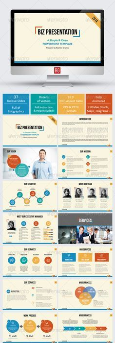 Clean Business Presentation by Aleksandr Malis   Inspiration for - company presentation template ppt