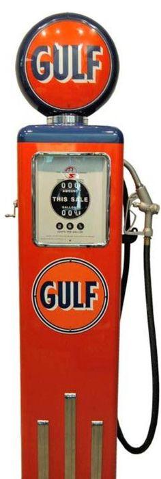 Meuble pompe à essence en métal rouge H 126 cm
