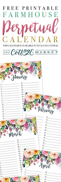 2018 Floral Printable Monthly Calendar Printable monthly calendar - Perpetual Calendar Template