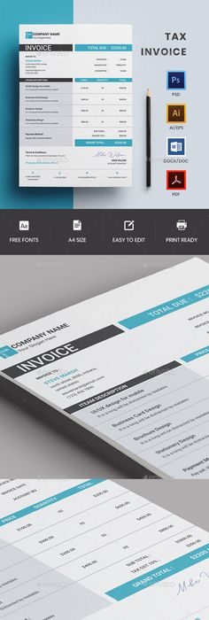 Invoices by Paulnomade - PSD, Indd, XLS, DOC, HTML, ODT, ODS, PDF - tax invoice