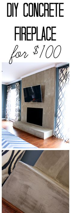 Board formed concrete fireplace screen adore pinterest diy concrete fireplace for less than 100 solutioingenieria Choice Image