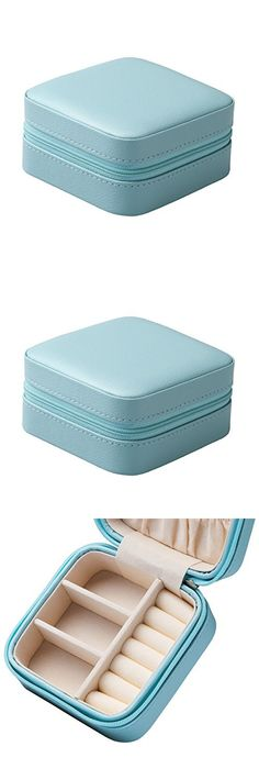 Vlando Small Portable Travel Jewelry Box with Mirror Blue Travel