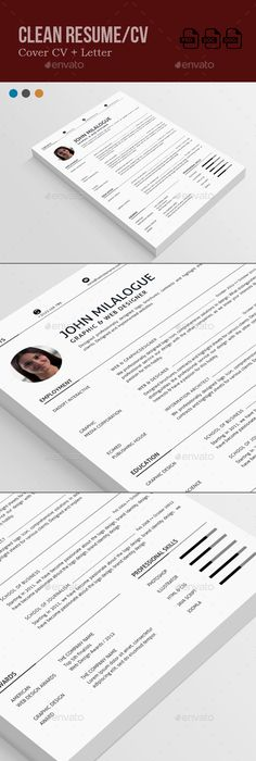Clean Resume Cv resume template, Template and Resume cv