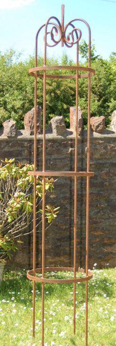 Scroll Top Classic Garden Obelisks In Wrought Iron.