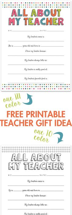 Printable Teacher Appreciation Gift Cards  Teacher Gift And