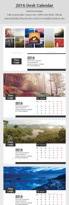 Modern Business Style Calendar  Template  Calendar Design
