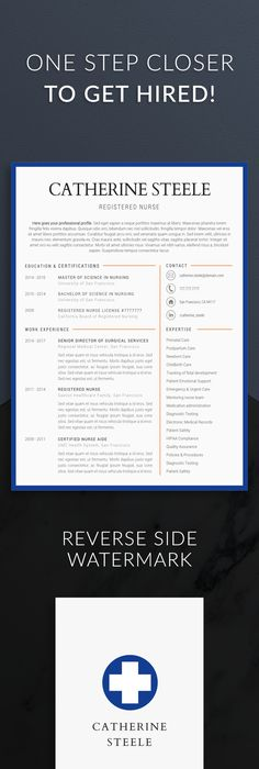 Nursing Resume Template 5 Pages   Nurse Resume   Registered Nurse     Nurse resume template for modern professionals  Suitable as medical resume  for nurses  CNA