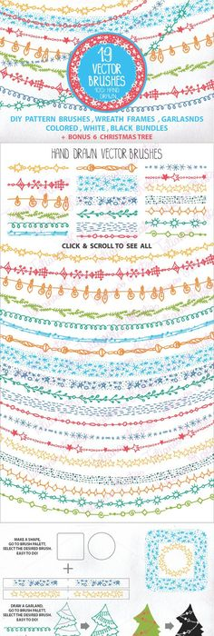 HolidayChristmas Garland brushes  sc 1 st  Pinterest & Highlighter brushes and arrows (Ai)   Highlighter brush Vector file ...