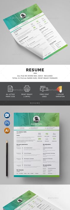 Resume Template, Cv resume template and Font logo