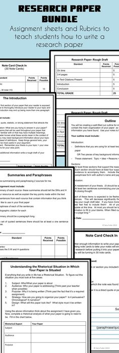 Rubric For Research Paper  Scope Of Work Template  Middle School