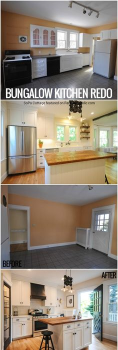 This bungalow kitchen renovation went from dated yet charming to modern but homey maintaining the