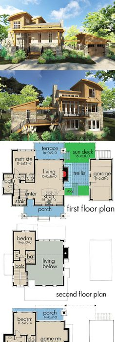 Cottage with 3rd Floor Loft - 69438AM Architectural Designs