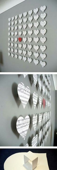 smartness ideas heart shaped wall decor. 20 Extraordinary Smart DIY Paper Wall Decor  Free Template Included Not the hearts but art using sheet music 28 Decorating Tricks To Brighten Up Your Rented Home Dorm