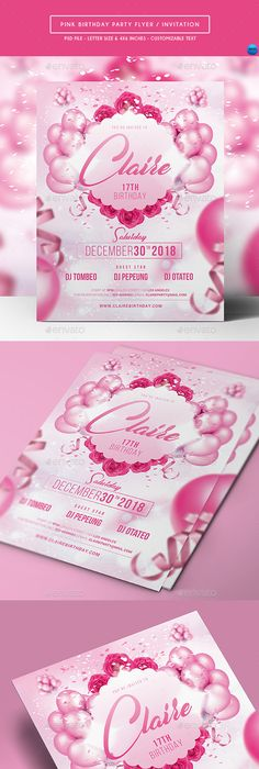 Kids Birthday Invitation Flyer template, Template and Party flyer - Invitation Flyer Template
