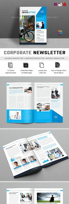 Professional  Corporate InDesign newsletter template that can be - corporate newsletter template