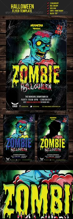 Zombie Halloween Party  Zombie Halloween Party Flyer Template And