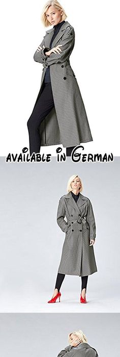 FIND Damen Karierter Oversize-Trenchcoat Grau (Grey), 38 (Herstellergröße:  Medium
