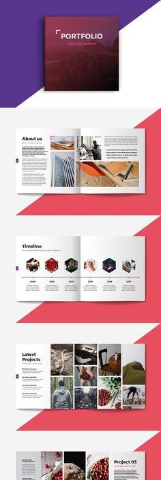 Square Portfolio Brochure Template Brochure template, Brochures