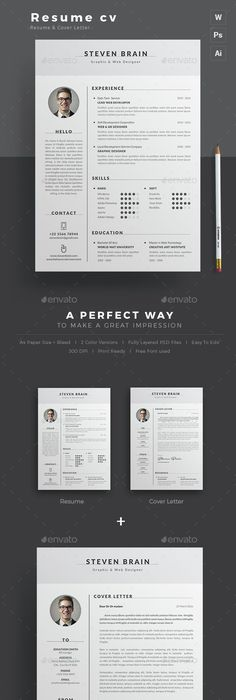 Plantilla Cv And Cover Letter  Adobe Photoshop E Illustrator