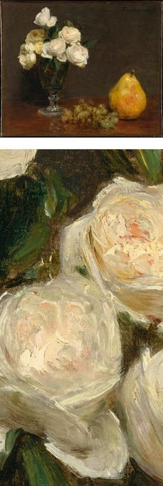 Great blog for looking at pretty art still life with flowers and still life with roses and fruit henri fantin latour oil gold white flowers pear mightylinksfo