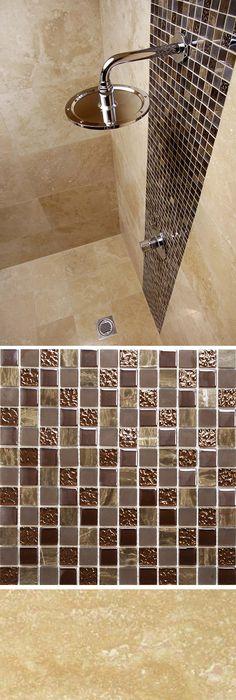 Ferrara Natural Travertine With Natural Chocolate Marble U0026 Glass Mosaic  Tiles. Using The Marble U0026