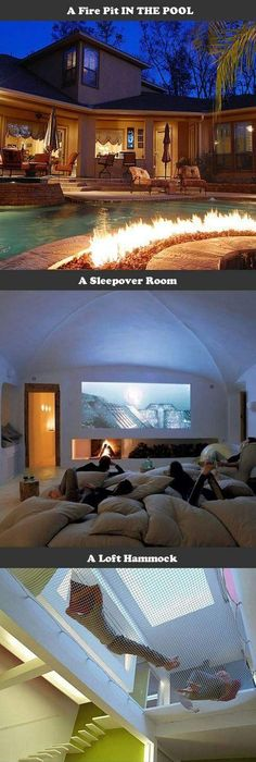 I particularly like the sleepover room and the fire pit in the pool sweet home ideas especially the pillow movie room the swing table and the hammock
