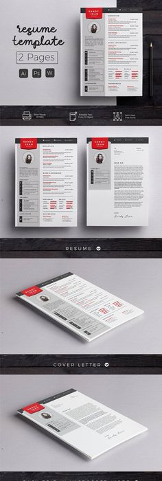 Complete Resume Template AI, EPS, PSD, MS Word CV Pinterest