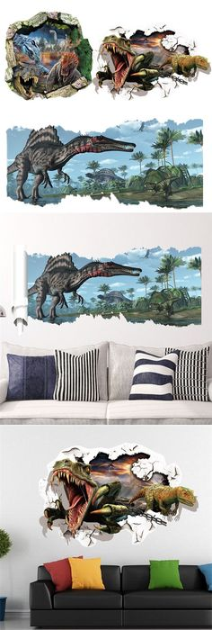 Cartoon Dinosaurs Paw Scratch Through Wall Stickers For Kids Room - 3d dinosaur wall decalsd cartoon dinosaur wall stickers art decal mural home room