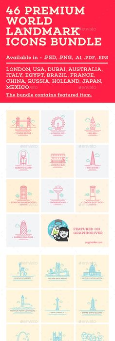 Freebie World Landmark Icons (AI, EPS, PDF, PNG and PSD) Icons - fresh world map pdf in english