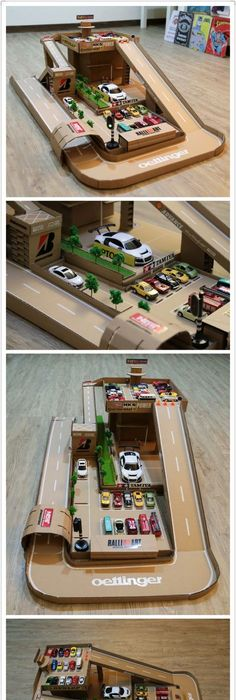 I made this garage and car track out of a shoe box Really simple