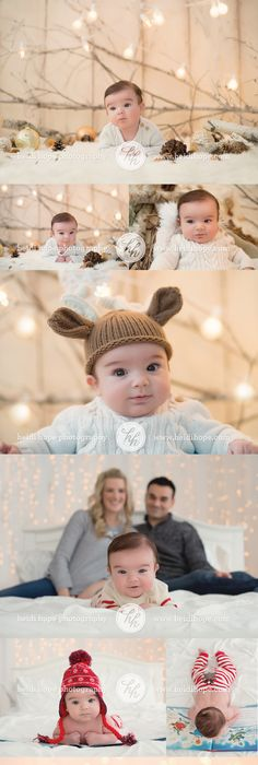 2 month old baby bs holiday shoot christmas winter hats