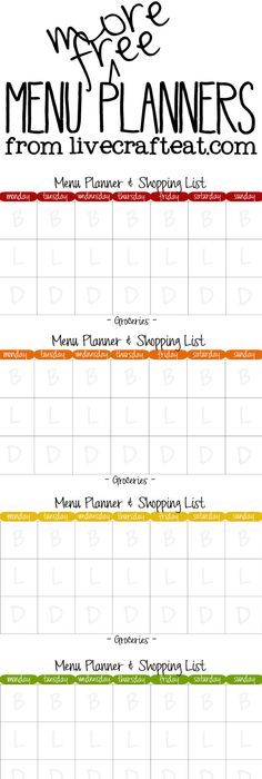 Free Printable Monthly Menu Planner  Monthly Menu Planner