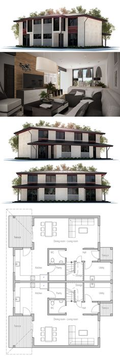 Duplex House Plan to narrow lot Possible income I future