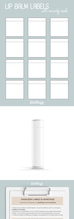 Free Blank LIP BALM TUBE Label Template Download WL Label - Lip balm label template