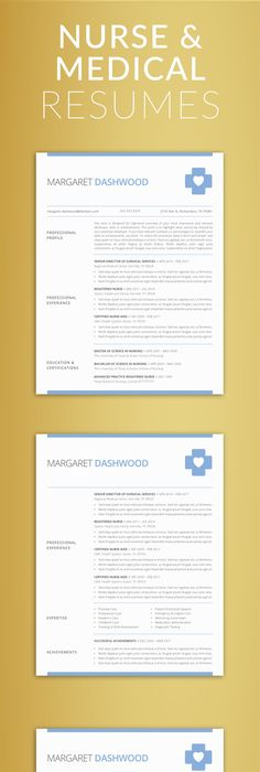 NurseMedical Resume Template  Minimalist Clean Simple