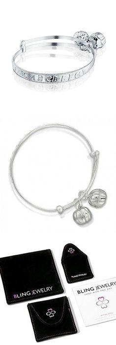 Bling Jewelry Sterling Silver Baby Rattle Alphabet Charm Bangle Bracelet 6in T2eRk