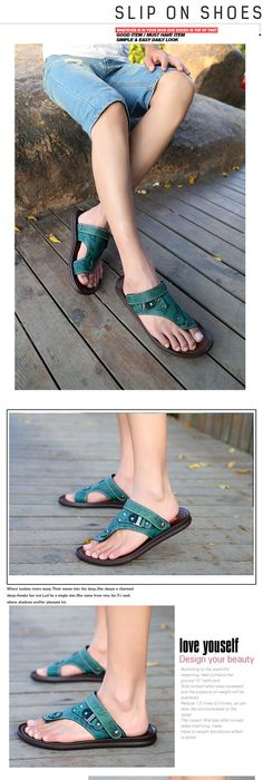 The new 2015 male sandals authentic leather slippers men casual summer skin  han edition men's shoes