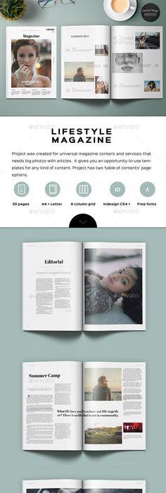 Minimal Lifestyle Magazine Template | Print templates, Minimal and ...