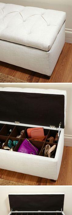 Ikayaa #folding ottoman #storage box bench foot stool faux leather ...