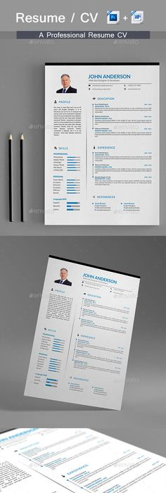 Resume \u2014 PSD Template #blue resume #clean cv \u2022 Download ➝   - download resume template