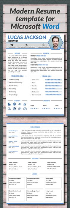 Resume Template With Photo Cover Letter  Cv Template Word