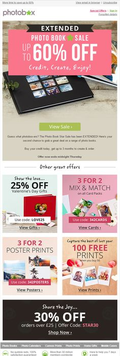 Flash sale email with discount coupon codes from photobox plus photobox up to sale with various coupon offers fandeluxe Image collections