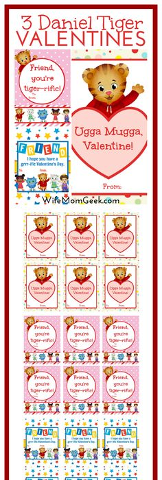 Beautiful Daniel Tiger Valentines   Free Printables