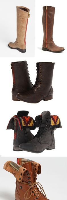 Collection of Steve Madden boots with red zippers: Barton, Ruse, Gavinn,  Chevie